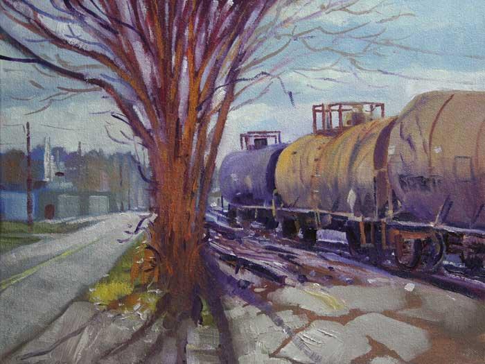 Along the Tracks, Ed Cahill, Plein Air Painting