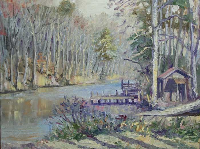 Winter Light on Russel Lake, Ed Cahill, Plein Air Painting