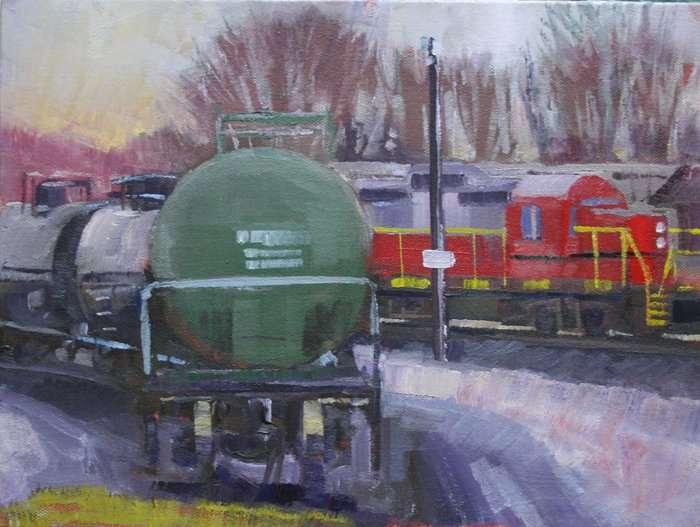 Marshaling Yard, Ed Cahill, Plein Air Painting