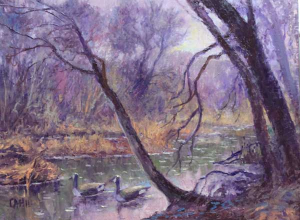 Gray Day Geese, 12x16