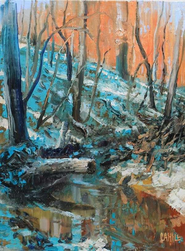Snow in the Woods Ed Cahill Plein Air Georgia