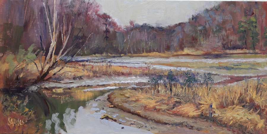 Winter on the River Ed Cahill Plein Air