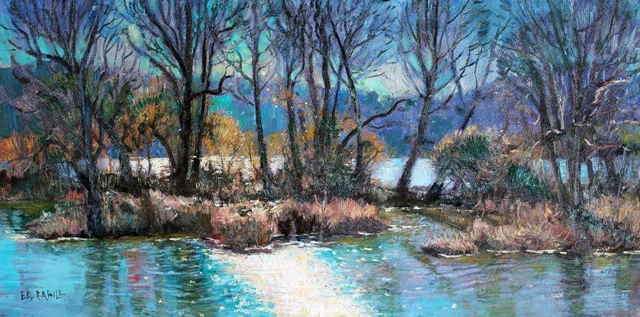 Winter morning on the river-ed-cahill-plein-air