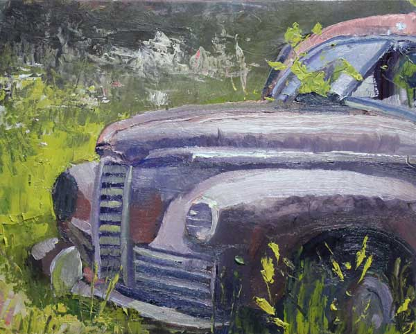 Ford in a Field, Ed Cahill, Georgia Landscape Painting