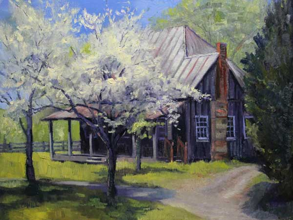 Mabry House Spring, 18x24, oil on canvas board, SOLD