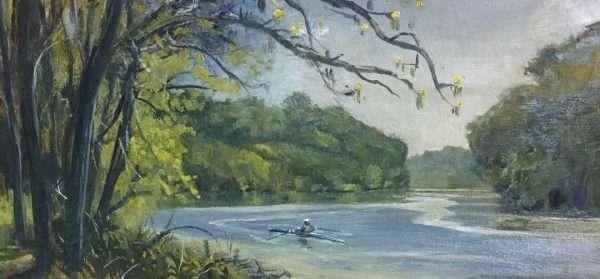 Morning Row, 12x24, Ed Cahill Plein Air Painting