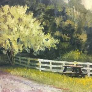 Smokey Tree & Fence, 12x12, Ed Cahill Plein Air Painting
