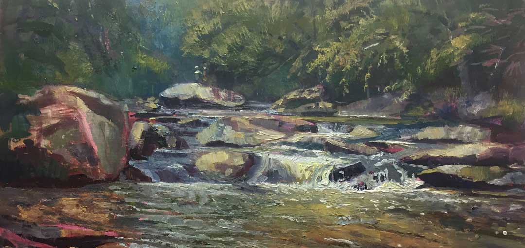 Sope Creek, 12x24, Ed Cahill Plein Air Painting
