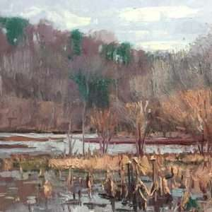 Winter on the Flats, 12x24, Ed Cahill Plein Air Painting