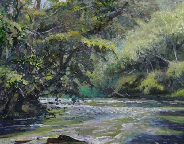 The Bend on Big Creek, Ed Cahill Plein Air Painting