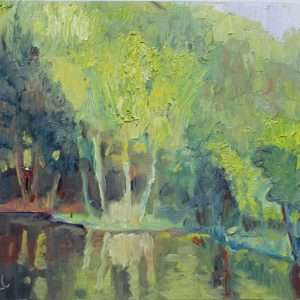 Spring River Chartreuse, Ed Cahill Plein Air Painting