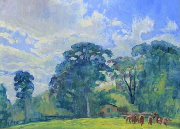 Spring Skies Over Mabry Farm, Ed Cahill Plein Air Painting