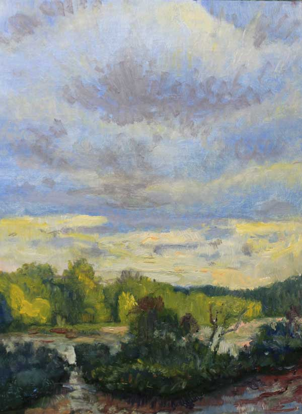 Clouds above River Bend, 9x12, Ed Cahill painting