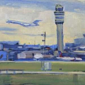 Hartsfield-Jackson Airport, 9x12, Ed Cahill painting