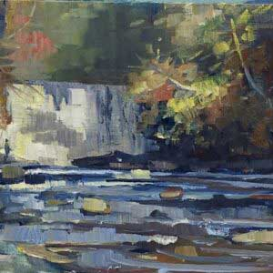 Vickery Creek Fall, 16x8, Ed Cahill Plein Air Painting