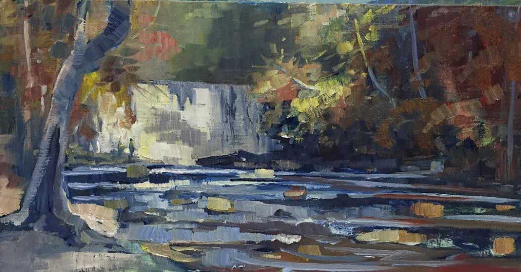 Vickery Creek Fall, 16x8, Ed Cahill Plein Air Painting