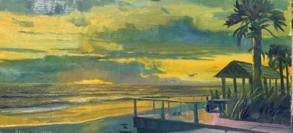 Smyrna Beach Sunrise, 12x42, Ed Cahill