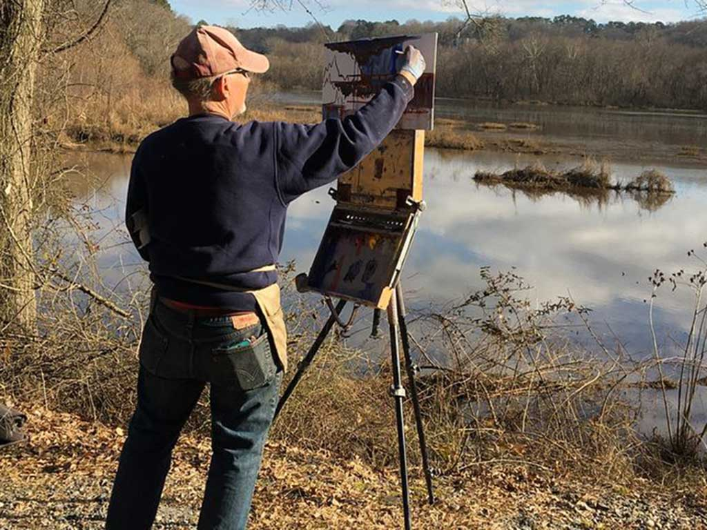 Ed Cahill Painting on the Chattahoochee River
